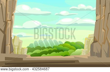 Mountain Gorge. Frame Composition. Stone Rocky Rocky Rural Landscape. High Peaks And Cliffs. Sky Wit