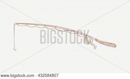 Beige fishing rod jacket linocut in cute illustration