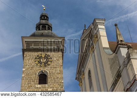 Black Tower And Facade Of The Cathedral In Ceske Budejovice, Czech Republic
