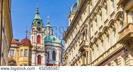 Historic Mala Strana With The Nicholas Church In Prague, Czech Republic