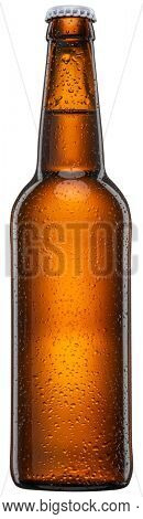 Bottle of cold beer with condensation isolated on a white background. File contains clipping path.