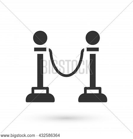 Grey Rope Barrier Icon Isolated On White Background. Vip Event, Luxury Celebration. Celebrity Party