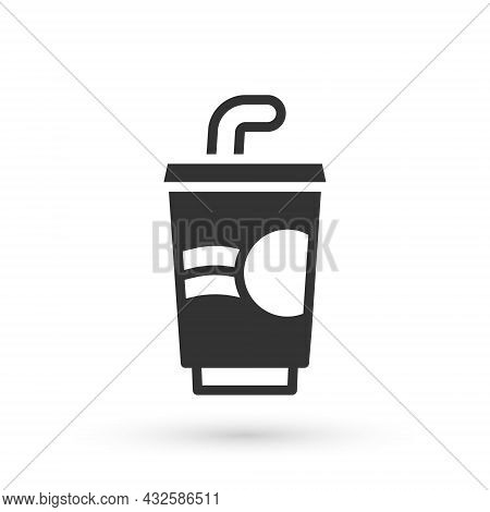 Grey Paper Glass With Drinking Straw And Water Icon Isolated On White Background. Soda Drink Glass.