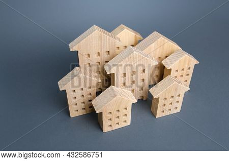 A Group Of Residential Buildings. Many Houses. Affordable Housing. Urban Studies And Science. Good M