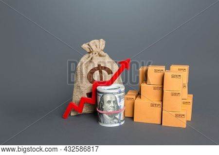 Boxes With A Red Arrow Up And Money. Increase In Trade Volumes, Growth Of Purchasing Power. Trade Su
