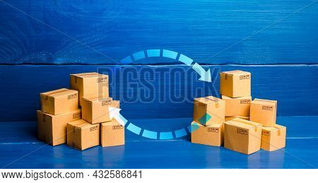 Arrows Between Boxes. Trade Balance And Exchange Concept. Economic Activity. Trading Traffic. Transp