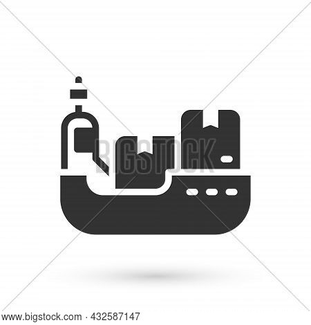 Grey Cargo Ship With Boxes Delivery Service Icon Isolated On White Background. Delivery, Transportat