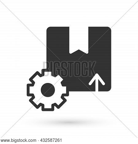 Grey Gear Wheel With Package Box Icon Isolated On White Background. Box, Package, Parcel Sign. Deliv
