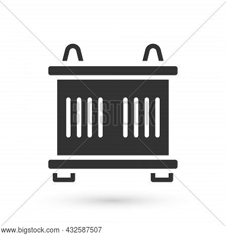 Grey Container Icon Isolated On White Background. Crane Lifts A Container With Cargo. Vector