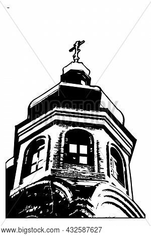 Black And White Image Of A Christian Orthodox Church Isolated On A White Background. Building With D