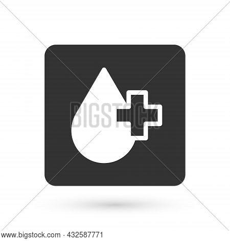 Grey Blood Test And Virus Molecule Coronavirus Icon Isolated On White Background. Coronavirus, Covid