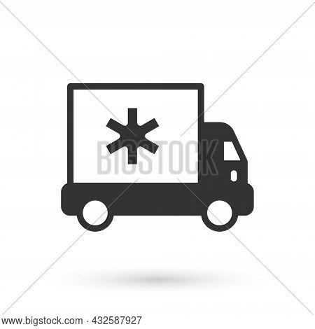 Grey Ambulance And Emergency Car Icon Isolated On White Background. Ambulance Vehicle Medical Evacua