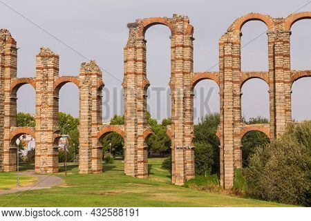 The Acueducto de los Milagros, Miraculous Aqueduct in Merida, Extremadura, Spain is a ruined Roman aqueduct bridge, part of the aqueduct built to supply water to the Roman colony of Emerita Augusta