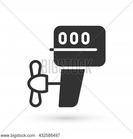 Grey Outboard Boat Motor Icon Isolated On White Background. Boat Engine. Vector