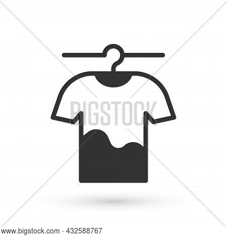 Grey Drying Clothes Icon Isolated On White Background. Clean Shirt. Wash Clothes On A Rope With Clot