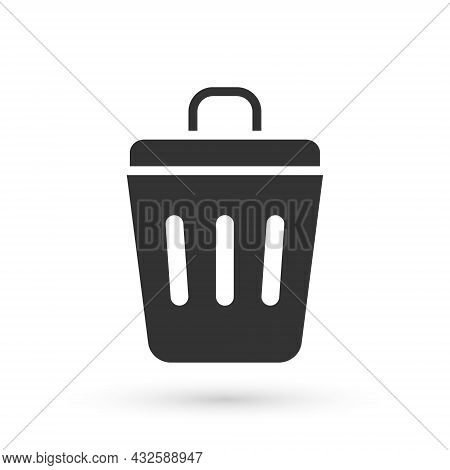 Grey Trash Can Icon Isolated On White Background. Garbage Bin Sign. Recycle Basket Icon. Office Tras