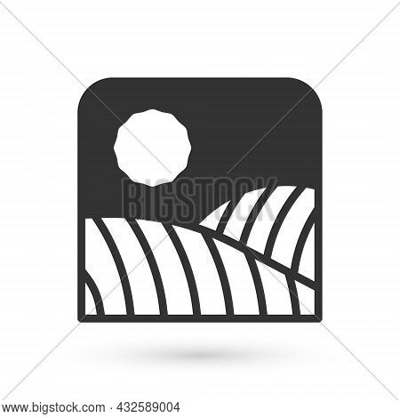 Grey Agriculture Wheat Field Farm Rural Nature Scene Landscape Icon Isolated On White Background. Ve
