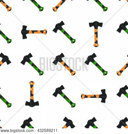 Illustration On Theme Pattern Steel Axes With Wooden Handle