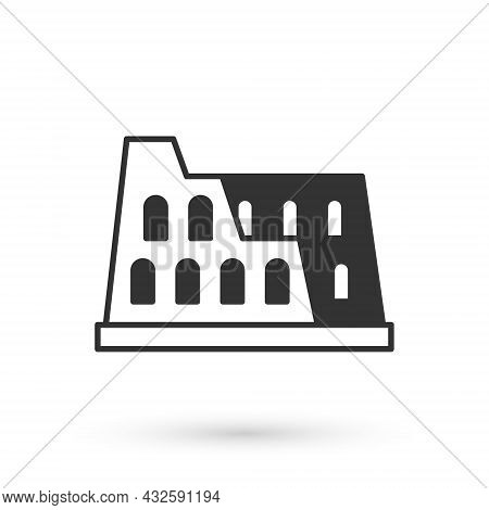 Grey Coliseum In Rome, Italy Icon Isolated On White Background. Colosseum Sign. Symbol Of Ancient Ro