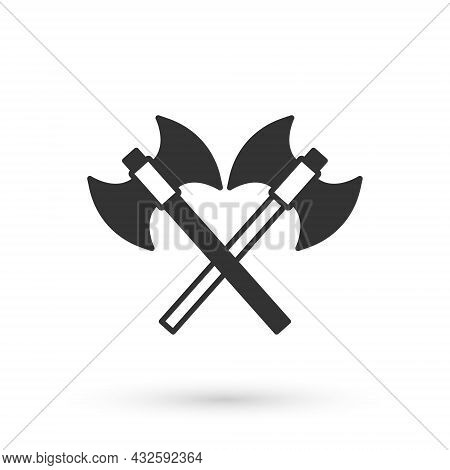 Grey Crossed Medieval Axes Icon Isolated On White Background. Battle Axe, Executioner Axe. Medieval