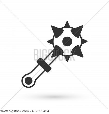 Grey Medieval Chained Mace Ball Icon Isolated On White Background. Morgenstern Medieval Weapon Or Ma