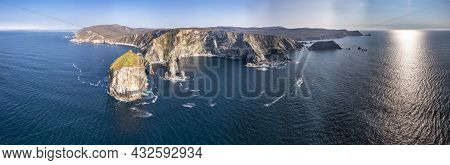 Aerial View Of Tormore Island By Port Between Ardara And Glencolumbkille In County Donegal - The Hig