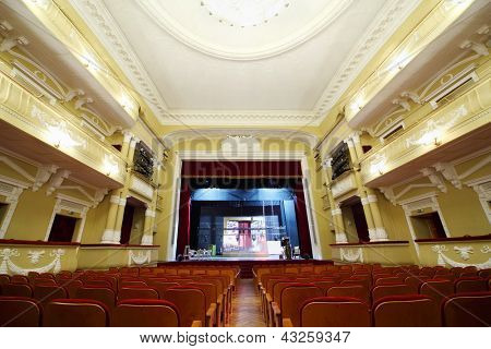 MOSCOW - JANUARY 27: Empty hall in theater in Palace on Yauza on January 27, 2012 in Moscow, Russia. Palace has 5 halls different capacity with good acoustics.