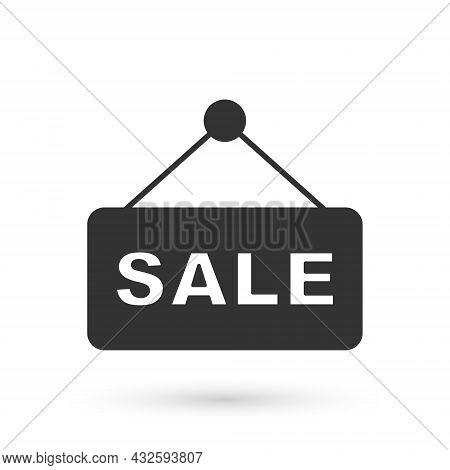 Grey Hanging Sign With Text Sale Icon Isolated On White Background. Signboard With Text Sale. Vector