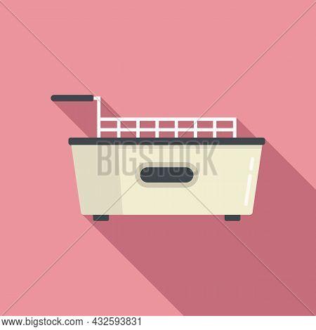 Kitchen Fry Machine Icon Flat Vector. Deep Fryer. Oil Basket