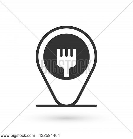 Grey Cafe And Restaurant Location Icon Isolated On White Background. Fork Eatery Sign Inside Pinpoin