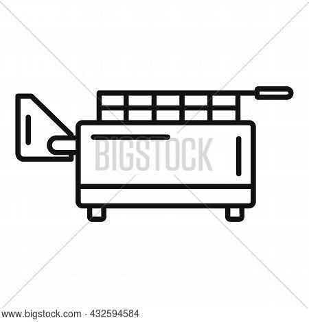Kitchen Deep Fryer Icon Outline Vector. Fry Basket. Oil Machine