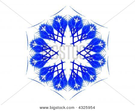 Complex Blue Snowflake On White
