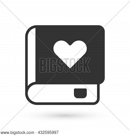 Grey Romance Book Icon Isolated On White Background. Vector