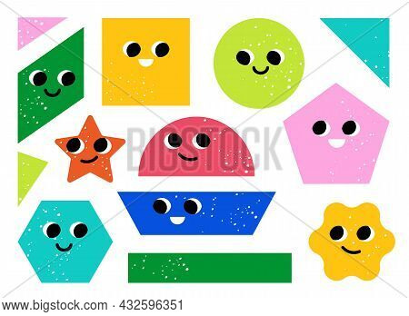 Set Of Colorful Abstract Geometry Figures. Cartoon Vector Illustration. Funny Basic Abstract Objects
