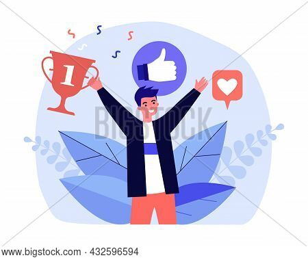 Man Receiving Universal Recognition, Positive Reviews, Prizes. Flat Vector Illustration. Young Guy R