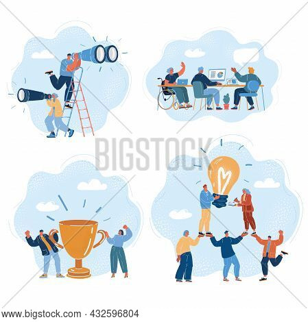 Vector Illustration Of Business People. Team In Work And Winning, Team, Teamwork, Idea, Winner, Rese