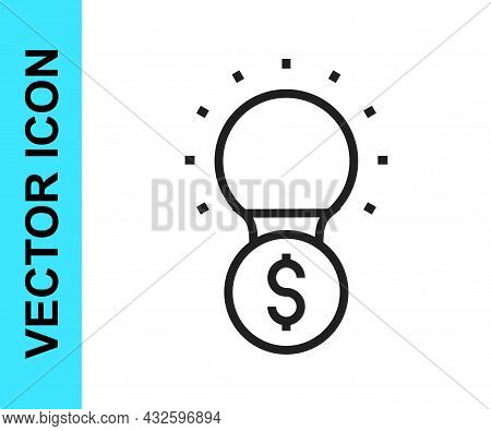 Black Line Light Bulb With Dollar Symbol Icon Isolated On White Background. Money Making Ideas. Fint