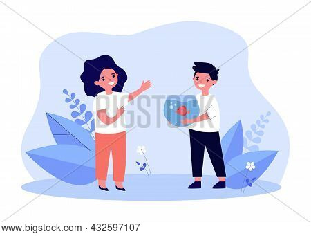 Cartoon Boy Showing Or Giving Fish In Tank To Friend. Happy Child Holding Aquarium With Fish Flat Ve