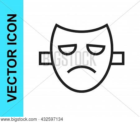 Black Line Drama Theatrical Mask Icon Isolated On White Background. Vector