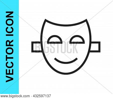 Black Line Comedy Theatrical Mask Icon Isolated On White Background. Vector