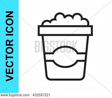 Black Line Popcorn In Cardboard Box Icon Isolated On White Background. Popcorn Bucket Box. Vector