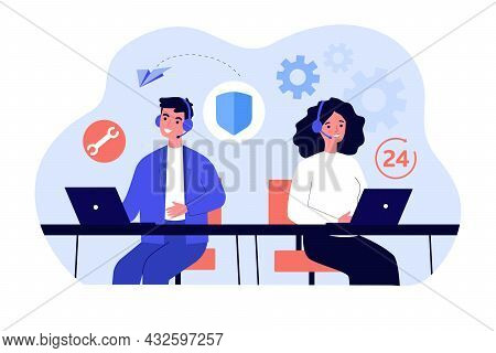 Man And Woman Working In Call Center Within 24 Hours. Flat Vector Illustration. Young People With He