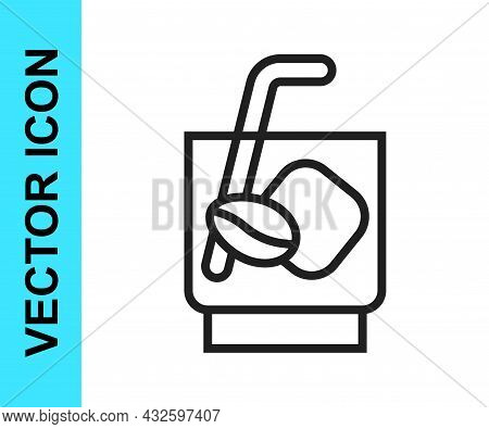 Black Line Espresso Tonic Coffee Icon Isolated On White Background. Vector