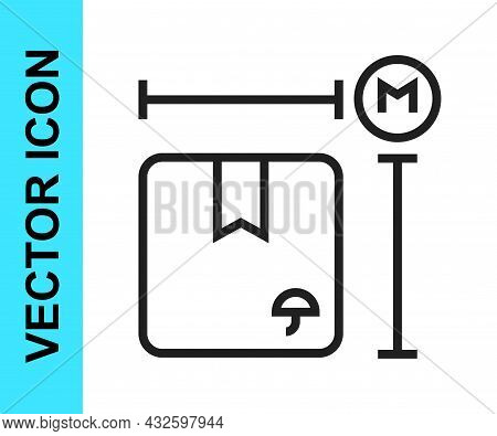Black Line Carton Cardboard Box Measurement Icon Isolated On White Background. Box, Package, Parcel