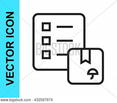 Black Line Verification Of Delivery List Clipboard Icon Isolated On White Background. Vector