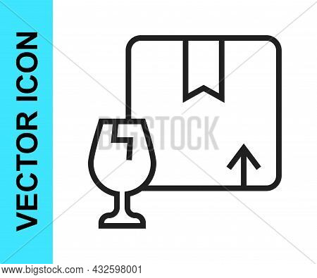 Black Line Delivery Package Box With Fragile Content Symbol Of Broken Glass Icon Isolated On White B
