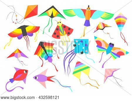 Set Of Colorful Flying Wind Kites. Cartoon Vector Illustration. Flying Kites With Tales, Ribbons And