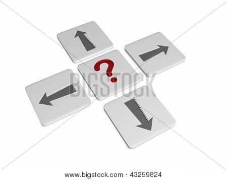 Question-mark Sign With Arrows In Different Directions
