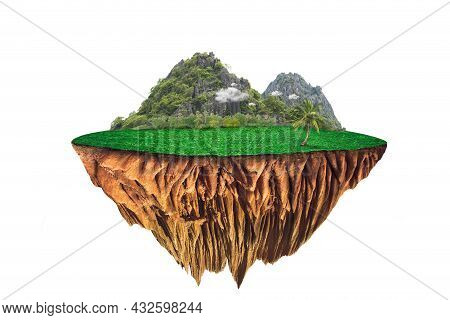 Round Soil Ground Cross Section With Earth Land And Green Grass.  Fantasy Floating Island With Natur