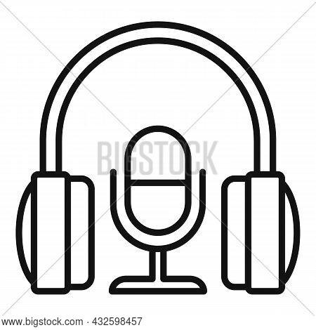 Stream Mic Headphone Icon Outline Vector. Live Video. Online Stream
